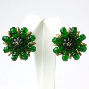 Emerald costume earrings by Miriam Haskell