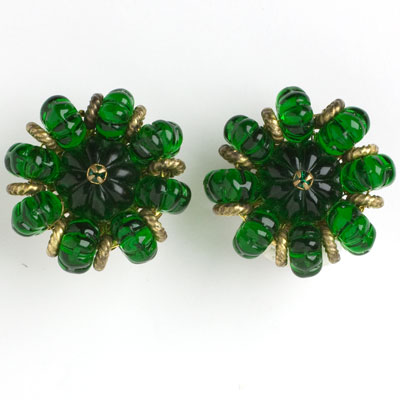 Miriam Haskell earrings with emerald melon beads