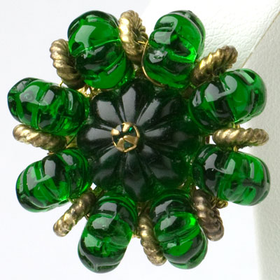 Close-up view of earring design