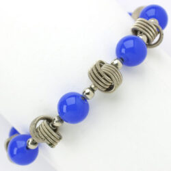 Blue bead bracelet with chrome knots