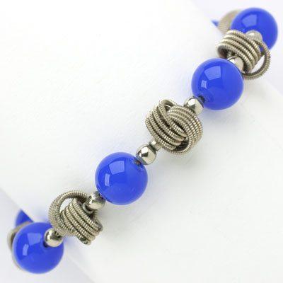 Blue bead bracelet with chrome knots