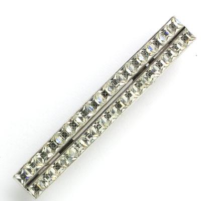 Art Deco pin with 2 rows of diamanté