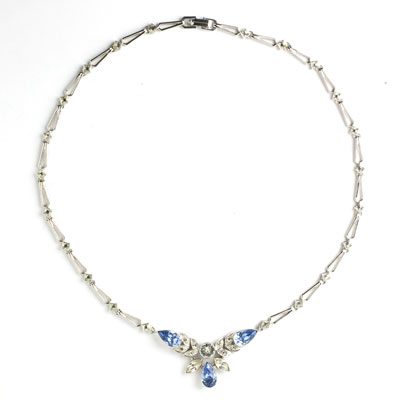 Sterling necklace with faux sapphire & diamante