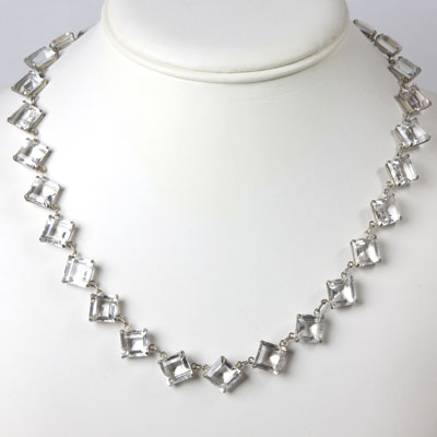 Sterling silver crystal necklace in Art Deco-style