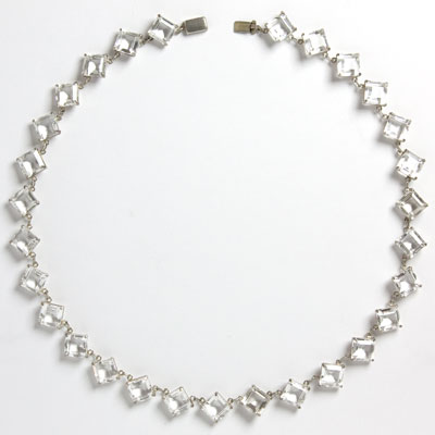 Art Deco-style crystal chicklet necklace