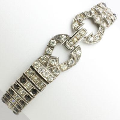 Wachenheimer sterling, 3 row bracelet with onyx & diamanté