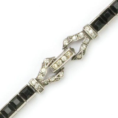 Close-up view of jeweled clasp