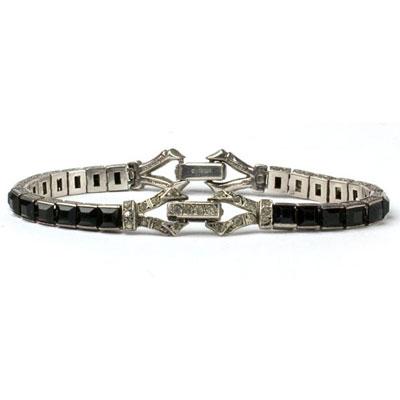 1930s onyx & diamante bracelet