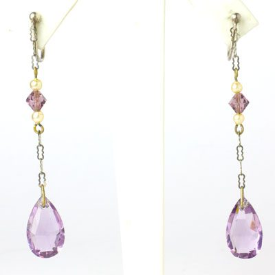 Long vintage amethyst earrings