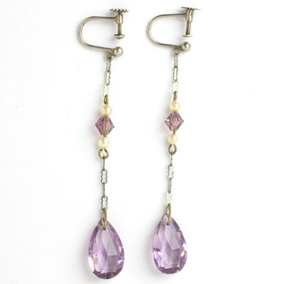 Art Deco earrings with amethyst teardrop pendants