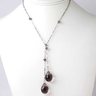 Vintage lariat necklace with large amethyst briolettes