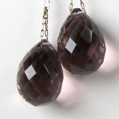 Close-up view of amethyst briolettes