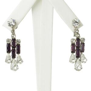 Vintage amethyst earrings w/diamantes