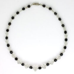 Onyx & crystal bead Art Deco necklace