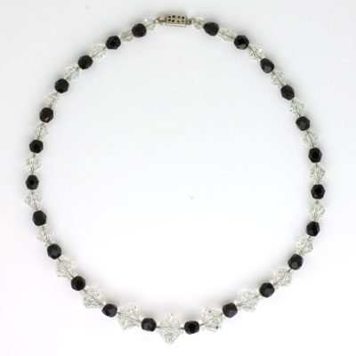 Onyx & crystal bead Art Deco necklace