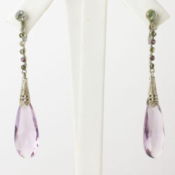 Art Deco earrings with amethyst teardrops & filigree