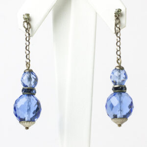 Sapphire blue drop earrings with rondelles