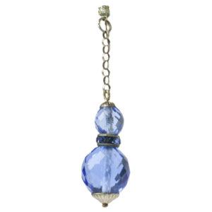 View of single blue bead & rondelle earring