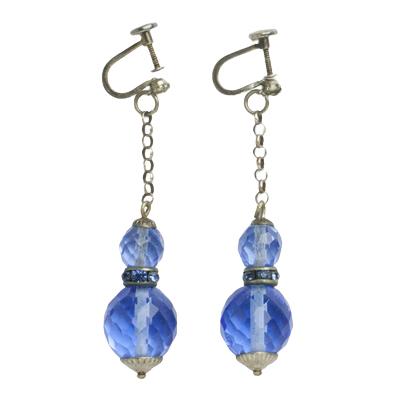 Blue bead Art Deco earrings