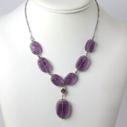 Amethyst drop necklace w/molded-glass plaques