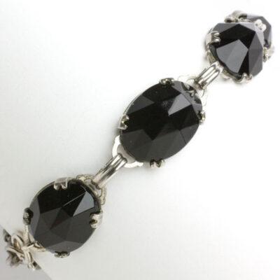 1920s onyx and silver bracelet