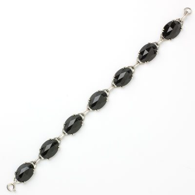 Front view of onyx & sterling Art Deco bracelet