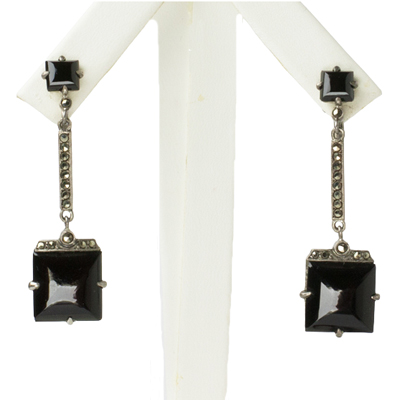 Black onyx dangle earrings with marcasites in sterling