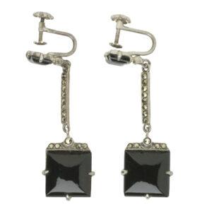 Onyx, marcasite & sterling Wachenheimer Bros. earrings