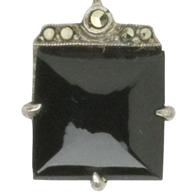 Close-up view of faceted onyx