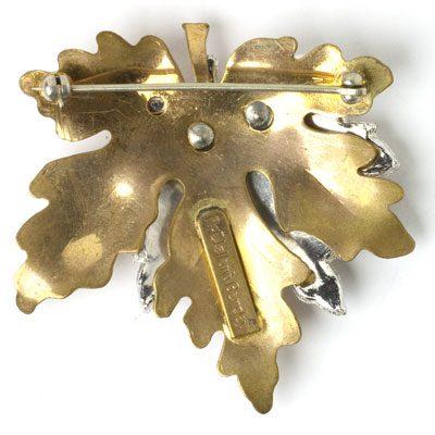 Back of maple leaf brooch