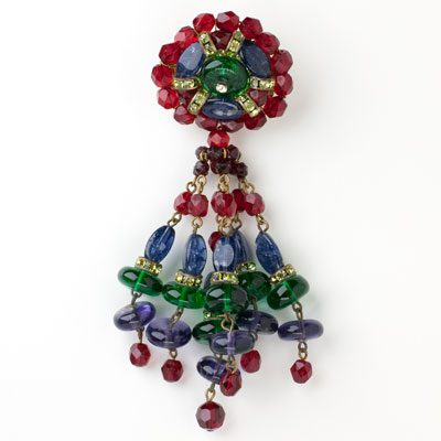 Gemstone pin w/colorful dangling beads