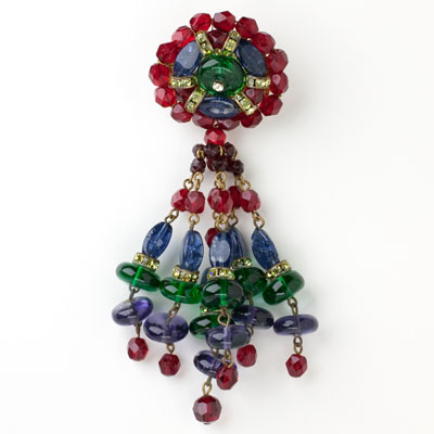 Pendant brooch w/colorful dangling beads