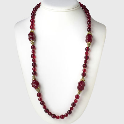 Ruby bead necklace with gold filigree & rondelles