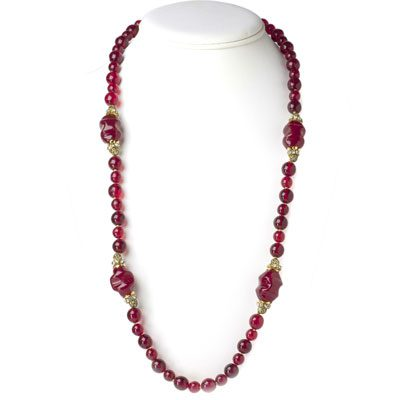 1950s Miriam Haskell ruby bead necklace
