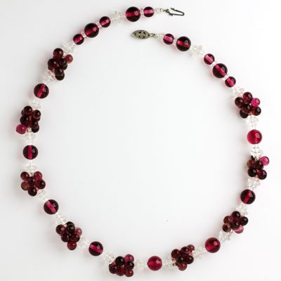 Another view of ruby bead & crystal necklace