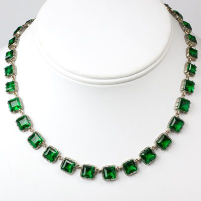 Art Deco choker necklace with emerald stones