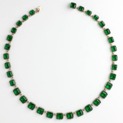Emerald Art Deco choker necklace