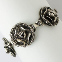Sterling silver link bracelet with baskets of flowers