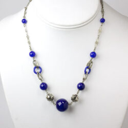 Lapis bead necklace with chrome