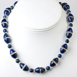 Necklace with blue beads & crystal disks