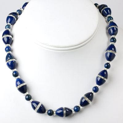 Lapis bead necklace with crystal disks