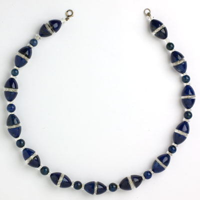 1920s necklace with lapis-glass beads & crystal disks