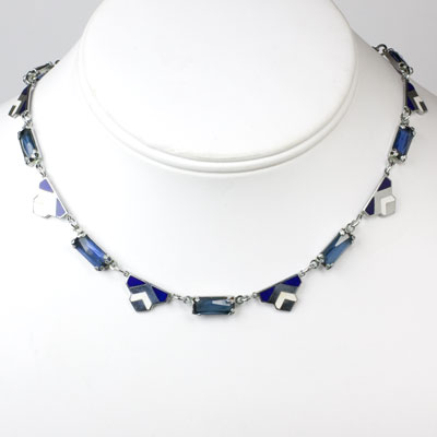 Blue & white enamel necklace with sapphires