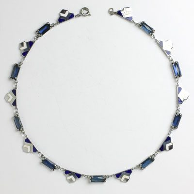 Art Deco enamel necklace on chrome with sapphires