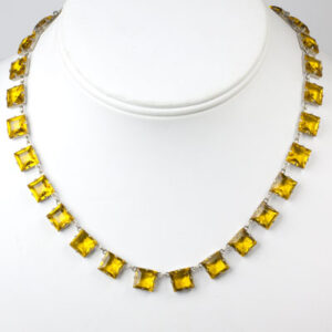 Vintage citrine necklace set on sterling silver frames