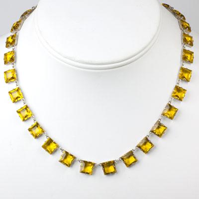 Vintage citrine necklace set on sterling silver frames