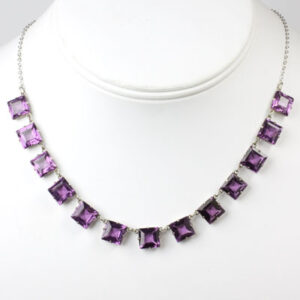 1920s necklace with amethyst chicklets