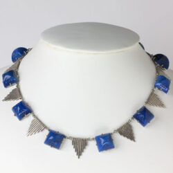 Lapis and silver pyramid necklace