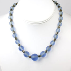 Blue glass bead necklace from 1920s France