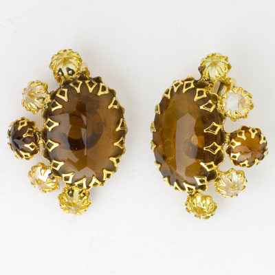 Schreiner brown topaz & citrine 1950s earrings